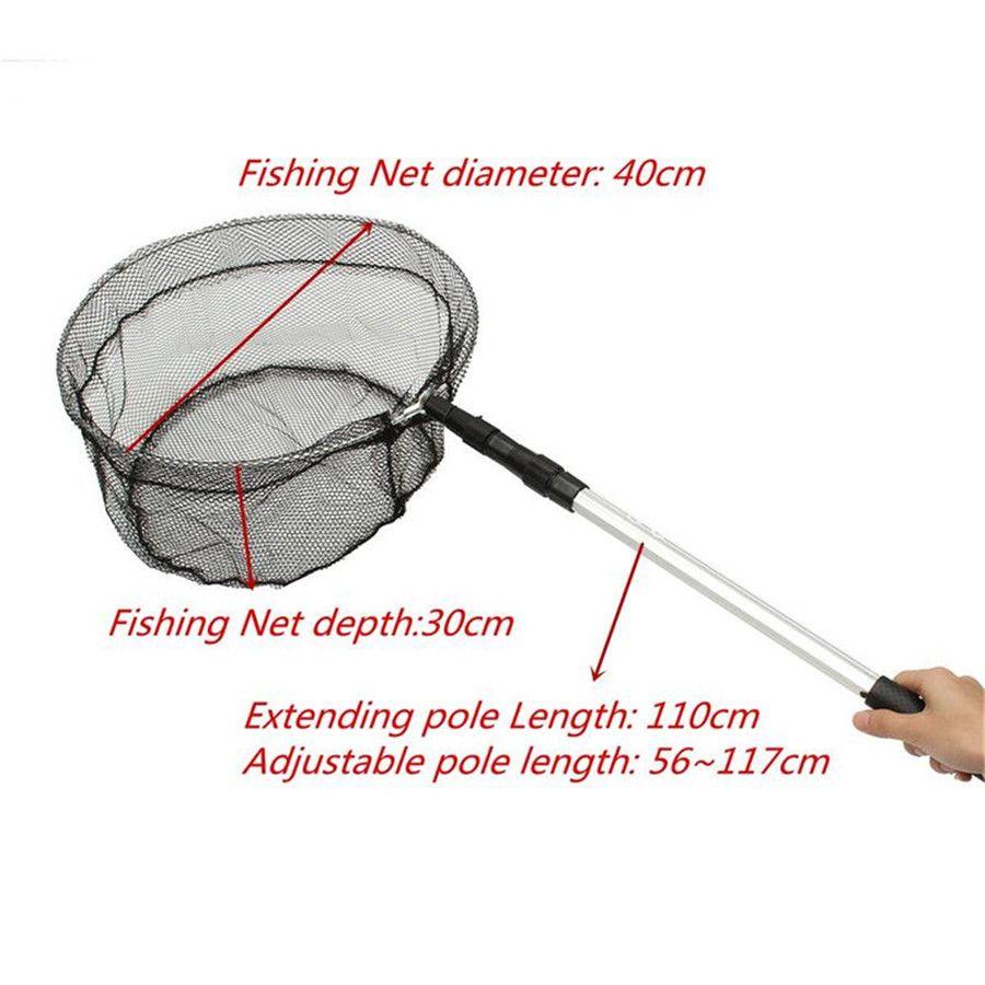 110cm Fishing Landing Net Aluminum Foldable Pole Handle Fish Net 2in1 Extending Pole Micro Mesh