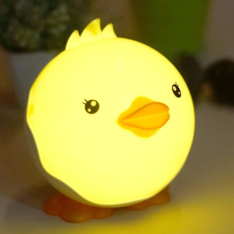 Cartoon anatroccolo luce di notte risparmio energetico creativo Baby alimentazione lampada da comodino camera da letto luci a sfioramento ricarica USB lampada da tavolo regalo