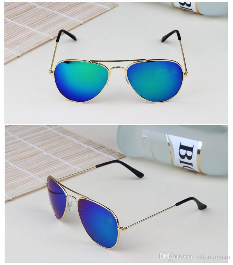2017 Brand Designer Sun Glasses for Children Cool Mirror Reflective Metal Frame Kids Sunglasses Children's Glasses UV400