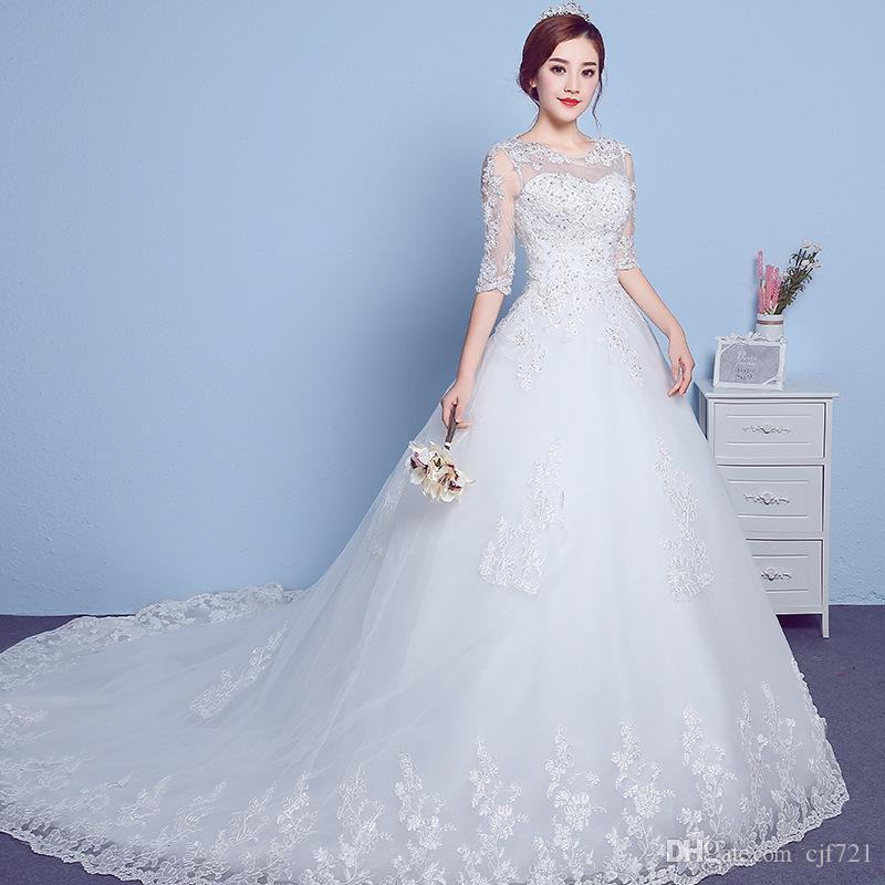 Romantic White Wedding Dresses O Neck Royal Pregnancy Dress Plus ...