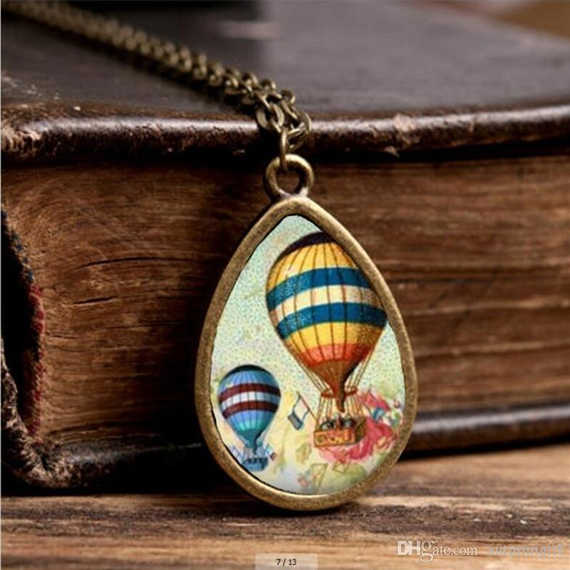 2017 New Hot Air Balloon Necklace Colorful Air Balloon Jewelry Tear Drop Pendant Travel Chain Glass Photo Necklaces