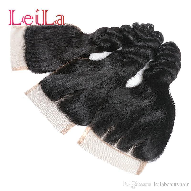 Перуанские 5 шт./лот девственные пучки волос с закрытием шнурка Свободная волна 100% человеческих волос для вашей красоты