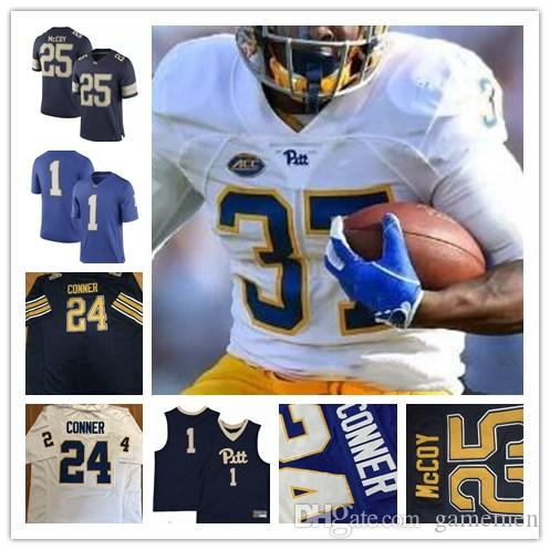 classic fit e0eb7 bdee4 25 LeSean McCoy 1 Larry Fitzgerald 28 Dion Lewis 24 James Conner Pittsburgh  Panthers Pitt College Football Sew Navy Gold White Blue Jerseys