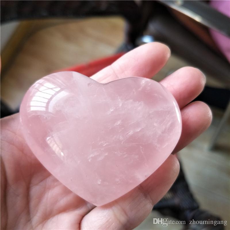 Natural curado rosa cuarzo tallado cristal reiki curación amor purificar en forma de corazón de piedra rosa piedra preciosa para el amor romántico