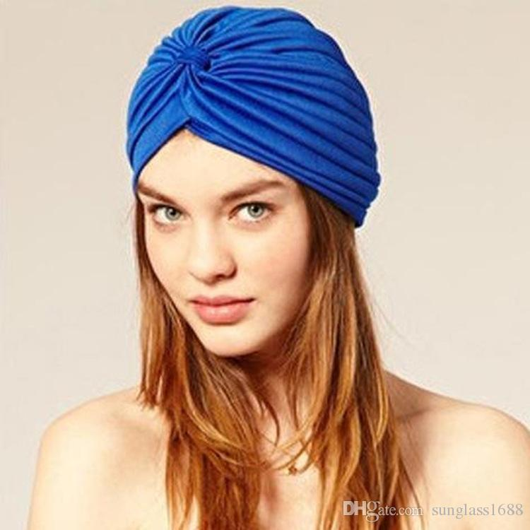 Ventes chaudes Femmes Lady Polyester Extensible Turban Tête Wrap Chapeau Band Bandana Hijab Plissée Indienne Styles Livraison Gratuite