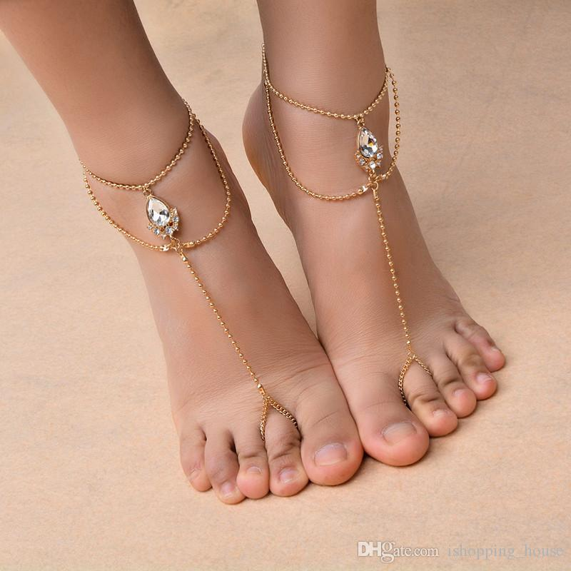 2019 New Fashion Women Summer Beach Anklet Bracelet Gold Silver AAA  Rhinestone Barefoot Sandal Adjustable Anklet Bracelet Chain With Ring AKL  030 From ... df2361ef398c