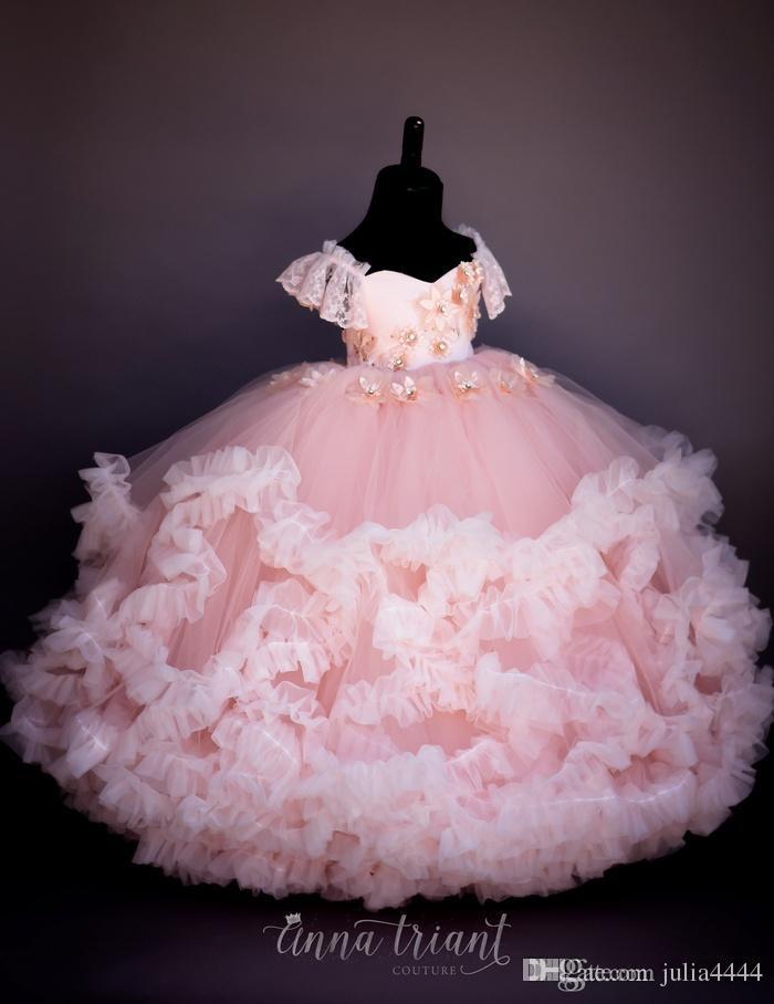 Blush vintage Imagen real Vestidos de niña de flores Con cuentas Hecho a mano Niño pequeño Flor Vestido de comunión Cordones Vestidos de bola para niños