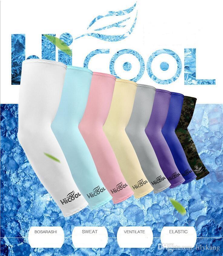 Hicool Cooling Mangas Unisex Sports Sun Bloco Anti UV Protection mangas Driving ArmSleeve desportivas ao ar livre Covers braço luva