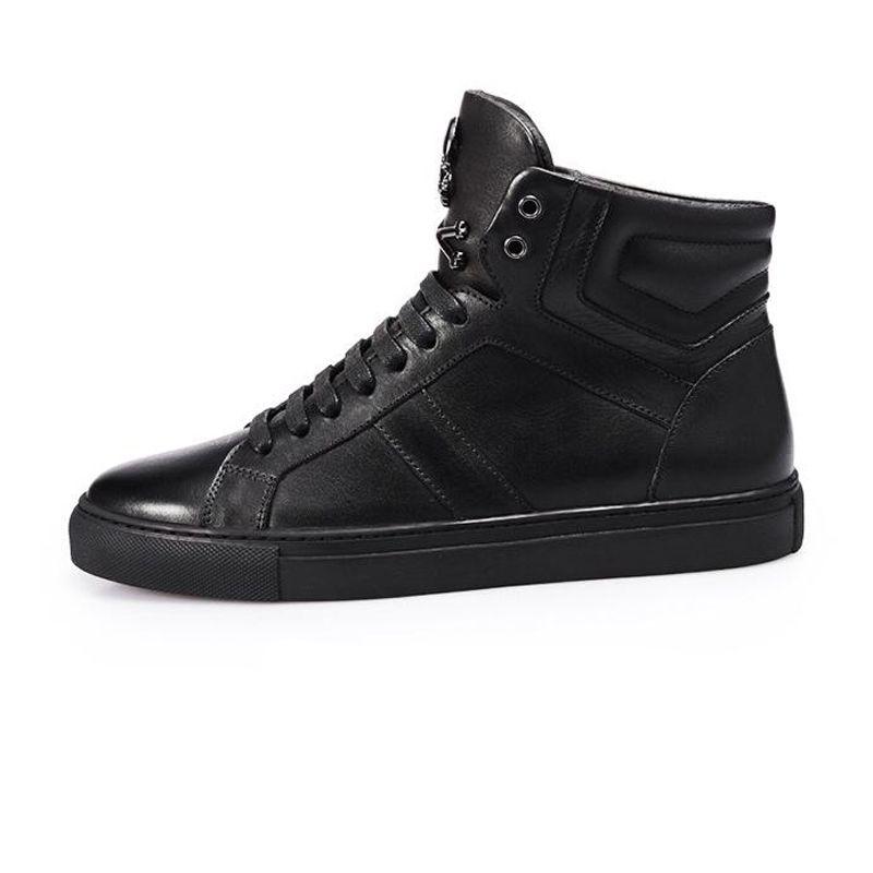 Vendita calda Inverno uomo scarpe in pelle all'ingrosso Metallo Skull Head personalità della moda uomo scarpe alte scarpe gli uomini