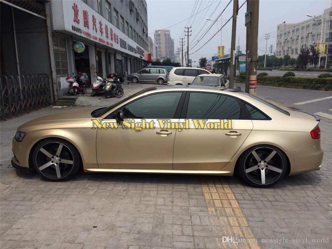 High Quality Champagne Gold Matte Satin Chrome Car Vinyl