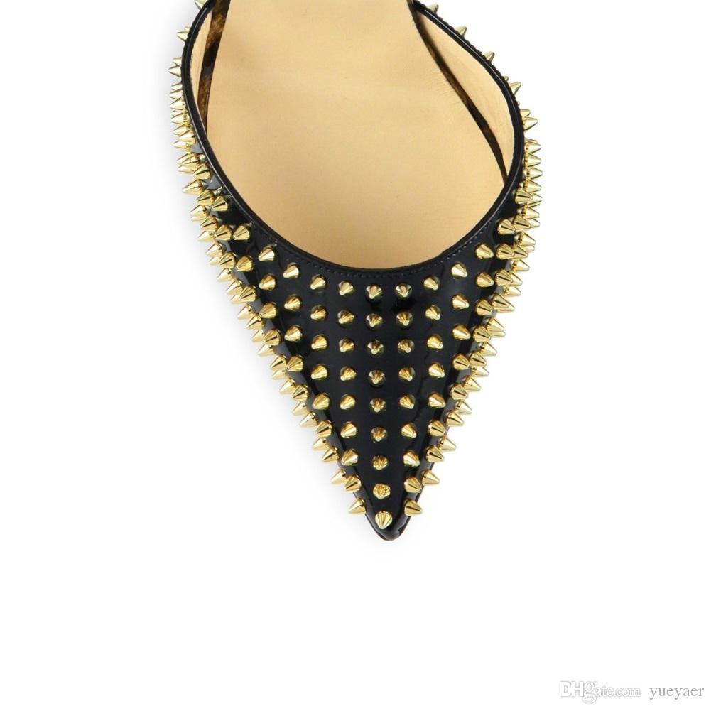 Zandina Womens Ladies Fashion Handmade 10cm Rivetti Spikes Slingback Sandali con tacco alto Condimento da sera Dress Scarpe a spillo KC009