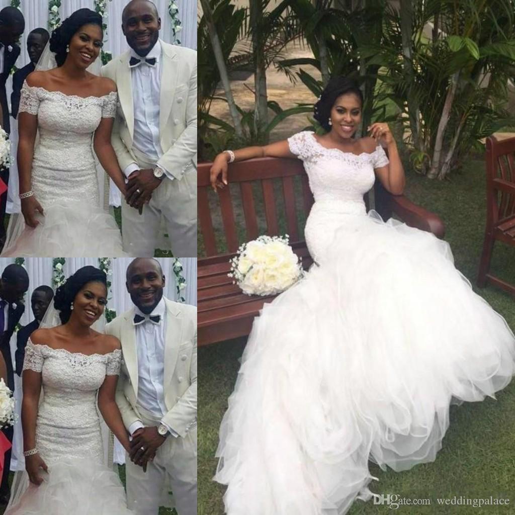 2018 Trendy Mermaid Wedding Dresses Arabic Short Sleeve Applique ...