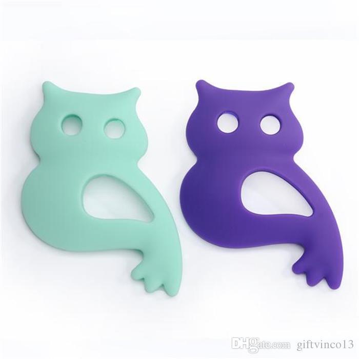Large Silicone Teething Beads Owl Pendants Necklace Baby Silicone Teethers Toy Nursing Pendant Silicone Teething Necklace Chewable Jewelry
