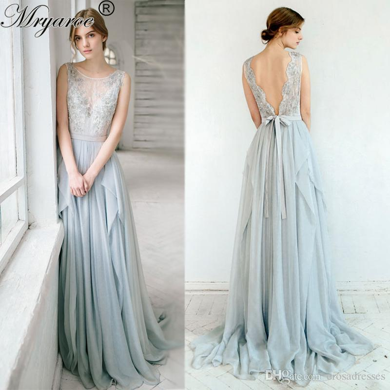 outside wedding dresses outdoor wedding 2017 sleeveless dusty blue 6342