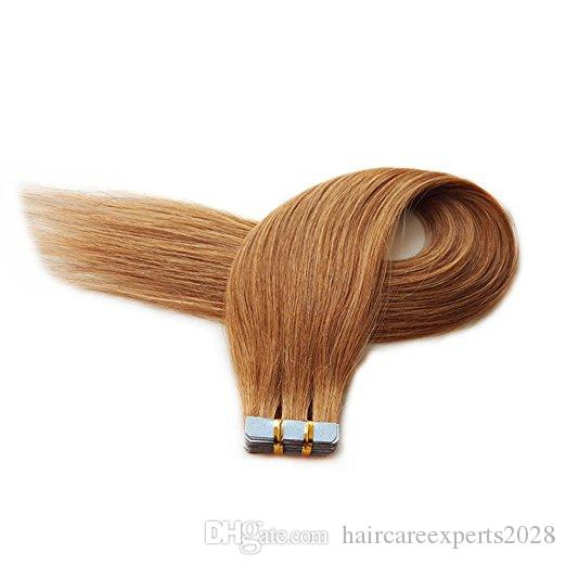 Nastro di Remy senza cuciture nelle estensioni dei capelli Capelli umani veri 18 '' - 26''2.5 g / pezzo Dritto # 30 Nastro medio / chiaro ramato sui capelli di trama della pelle