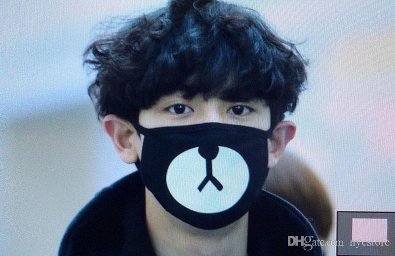 Wholesale Black Anti-Dust Cotton Cute Bear Mouth Mask Kpop EXO Chanyeol Chan yeol