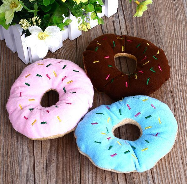 Sightly Lovely Pet Dog Puppy Cat Squeaker Quack Sound Toy Chew Donut Jugar Juguetes G856
