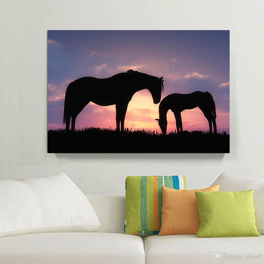 2017 romantic sunset landscape black horse canvas painting home