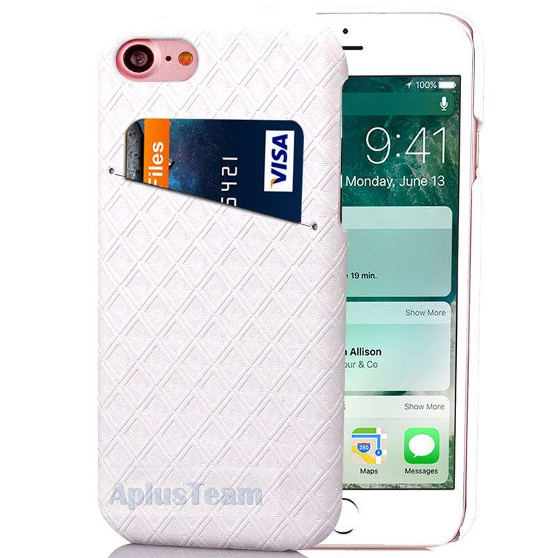 Custodia rigida di lusso Diamond Check Pattern Card Slot Custodia rigida iPhone 6 6s 7 Plus Custodia Samsung S7Edge 4.7