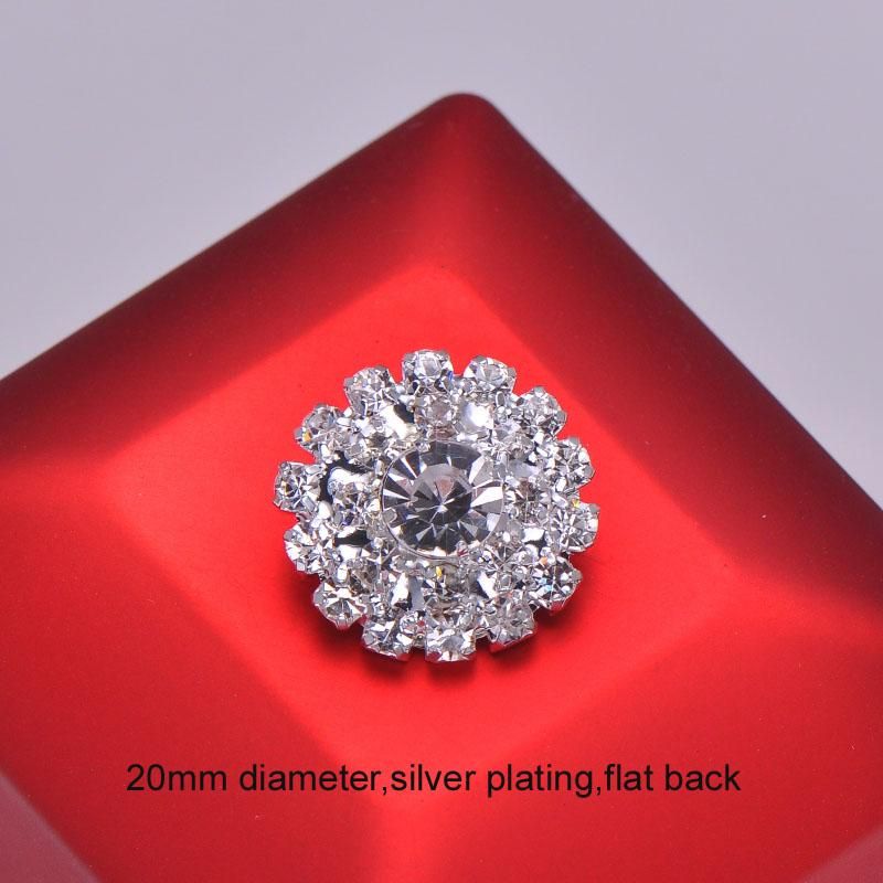 (L0385) free shipping wholesale 20pcs 20mm round rhinestone embellishment ,flat back,silver or rose gold or gold plating