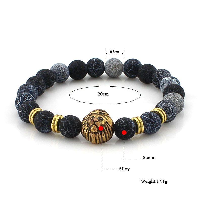 8mm Handmade Lion Head Macrame Adjustable Lava Fossil Agate Stone Gemstone Beaded Bracelet Unisex Oil Diffuser Bracelet B349S