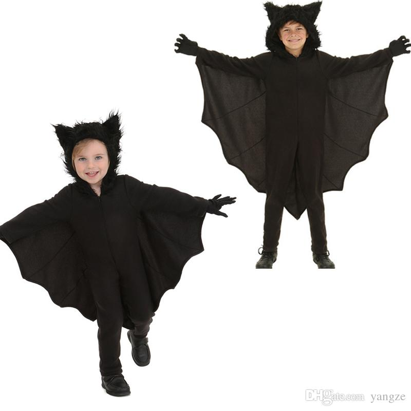 Halloween Vampire Costume Kids.Halloween Animal Cospaly Kids Black Bat Vampire Costumes For Children Boy Gril Cosplay Costume Jumpsuit Rf0186