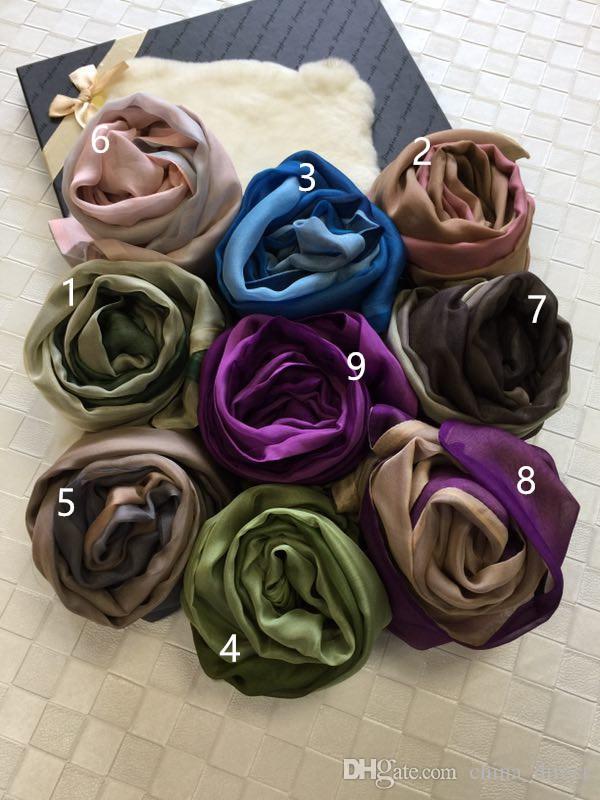 2017 100% Chiffon Seide 2 Ply Womens Farbverlauf Schal Schals heiß # 4034