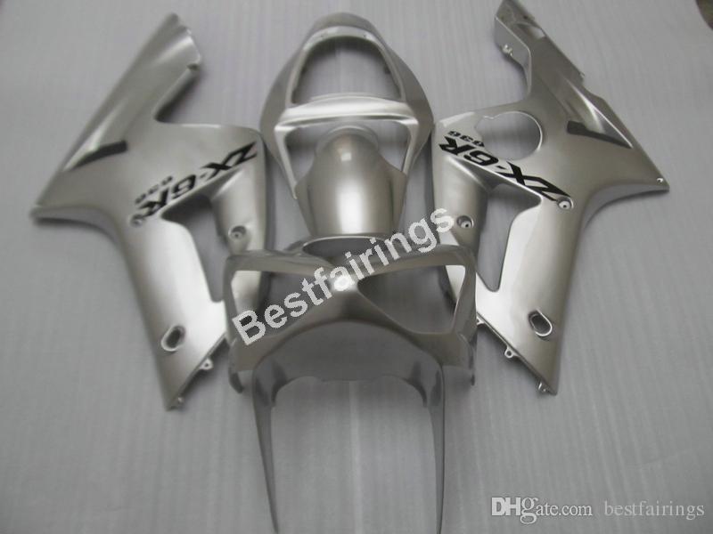 Cheap injection mold plastic fairings for Kawasaki Ninja ZX6R 03 04 silver motorcycle fairing kit ZX6R 2003 2004 UY29