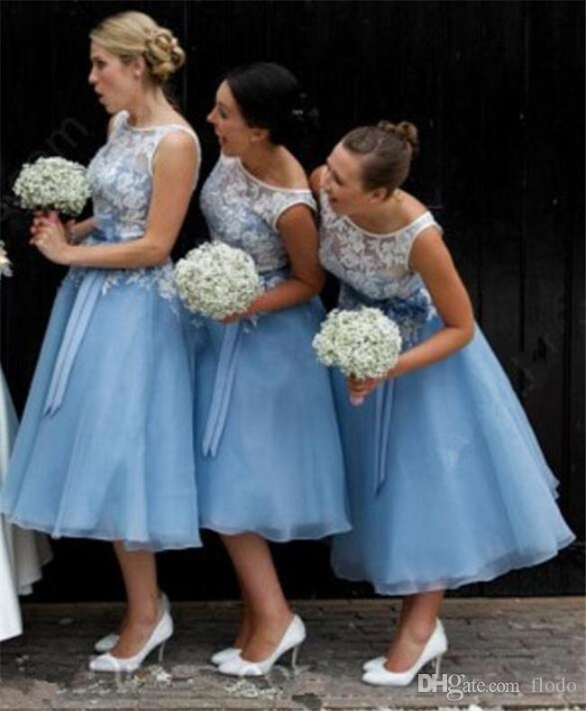 2017 Cheap White Lace Country Style Tea Length Bridesmaids ...