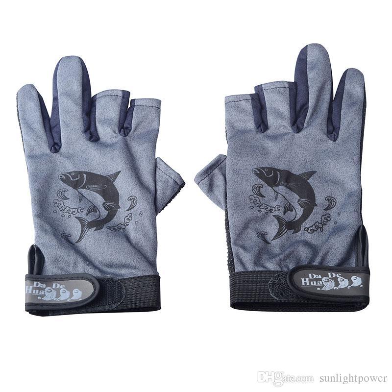 Skidproof Resistant Half Finger 3 Cut Finger Skidproof Resistant Anti-Slip Pack Fishing Tackle Gloves Random