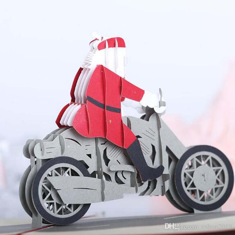 Santa Motorcycle Origami 3D Pop UP Greeting Cards Invitation card For Wedding Christmas Birthday Party Gift