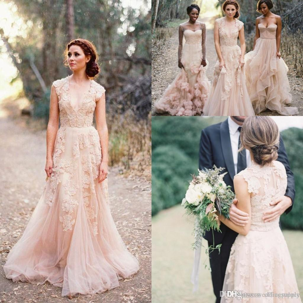 635d82c3ccf8b Discount Vintage 2019 Bohemian Blush Lace Sheer Wedding Dresses Ruffles Bridal  Gowns Cap Sleeve Deep V Neck Layered A Line Modest Bridal Gowns Weddings ...