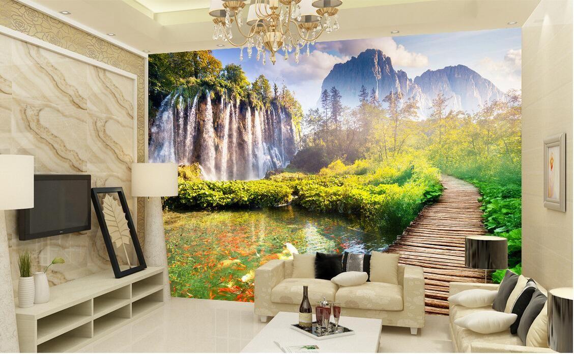 3d wallpaper custom photo mural Mountain bridge scenery landscape decoration painting 3d wall murals wallpaper for walls 3 d living room
