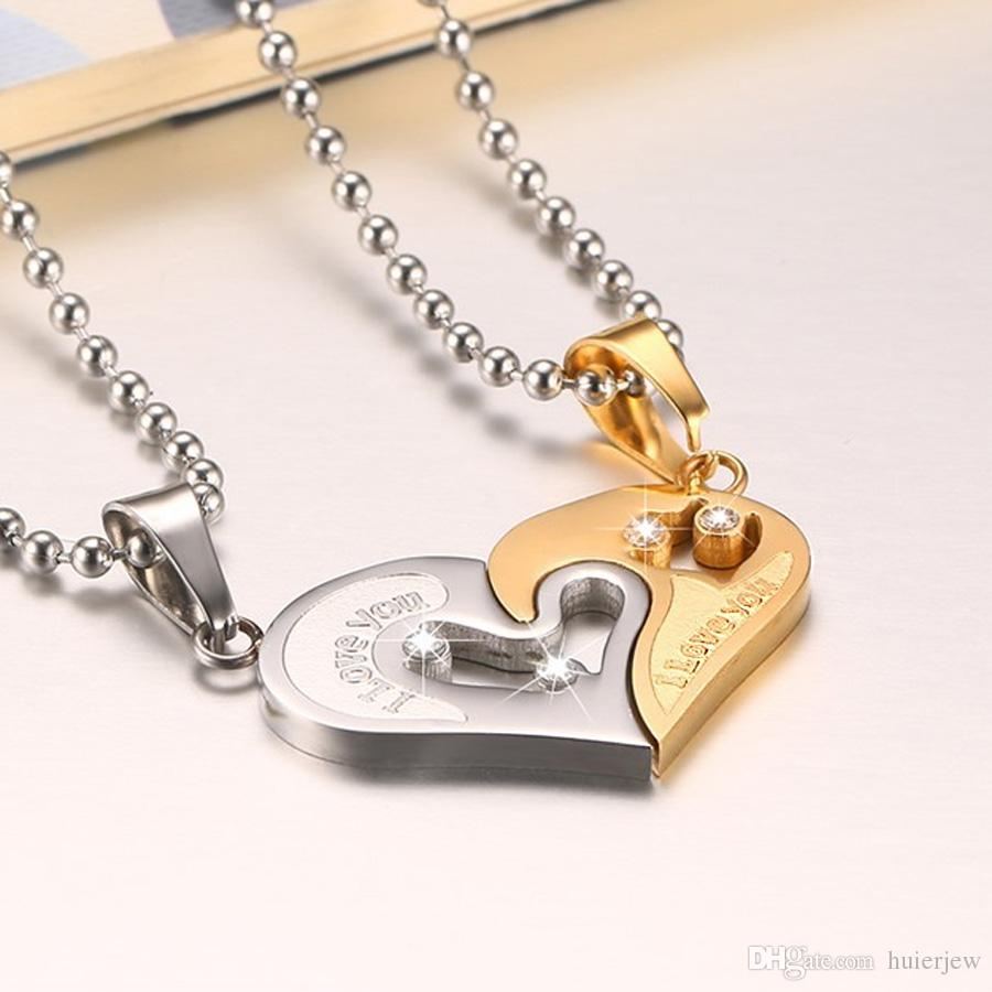 Mens Stainless Steel Chain Necklaces for Couples Korean Ladies Fashion Paired Suspension Puzzle Matching Pendants Black Heart Love Necklaces