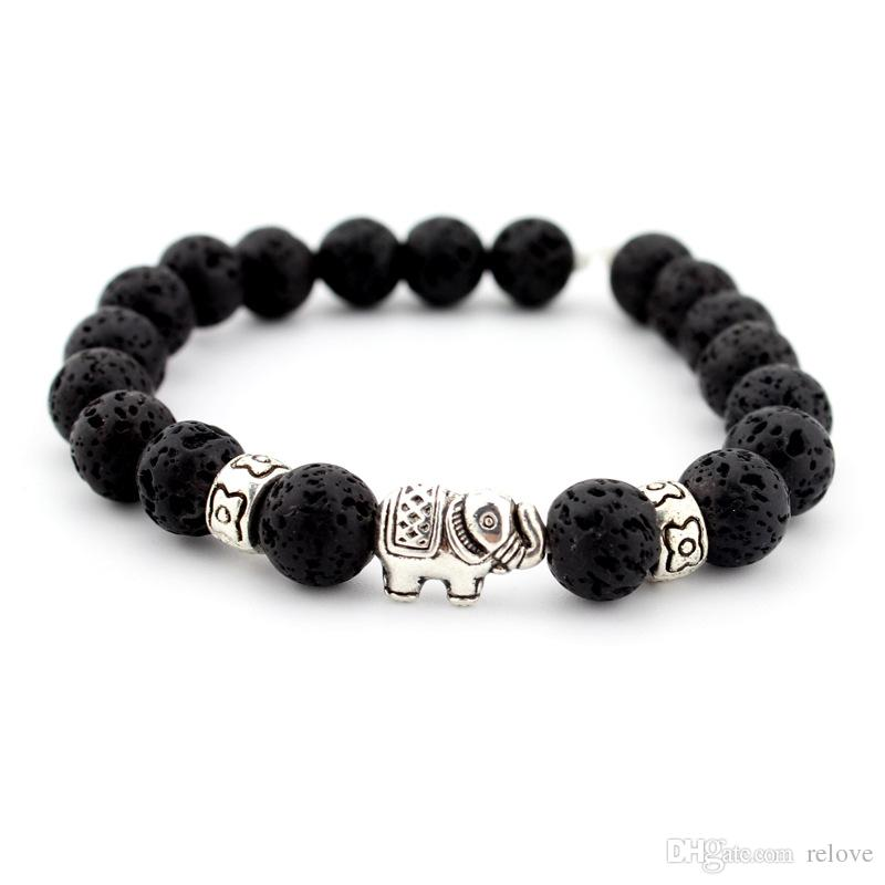 2017 new agata Lava rock Beads Bracelet New Fashion argento placcato elefante Bangles nero pietra lavica Buddha Beads bracciali