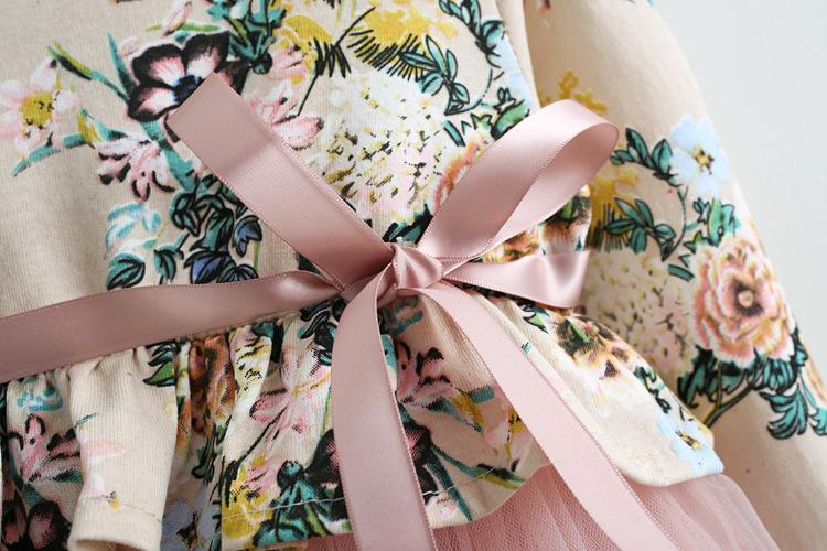 Flower Girl Dresses with Floral Print Kids 2018 Autumn Boutique Clothing Little Girls Princess Prom Dresses for Wedding Party