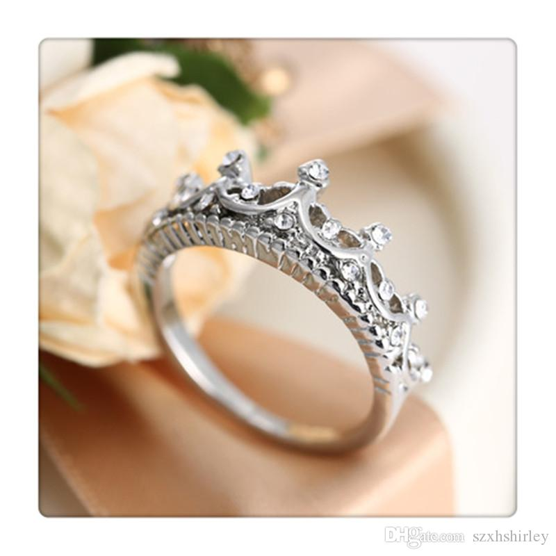 Moda princesa prata strass rainha coroa anel tamanho 7 8 9 anéis de casamento 925 anéis de prata esterlina