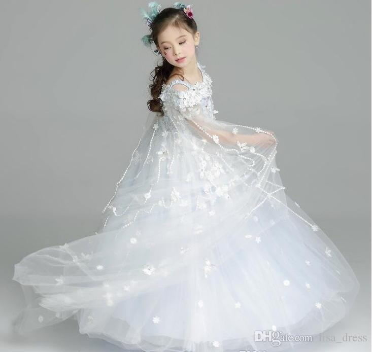 Junior Bridesmaids Dresses Flower Girls Party Dress New Floral Tulle ...