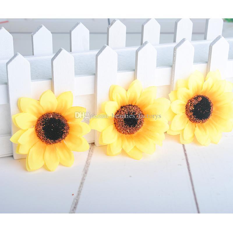 Künstliche Sonnenblumenknospen Silk Blumenköpfe Für Hochzeit Brautstrauß Dekoration Freies shipiping