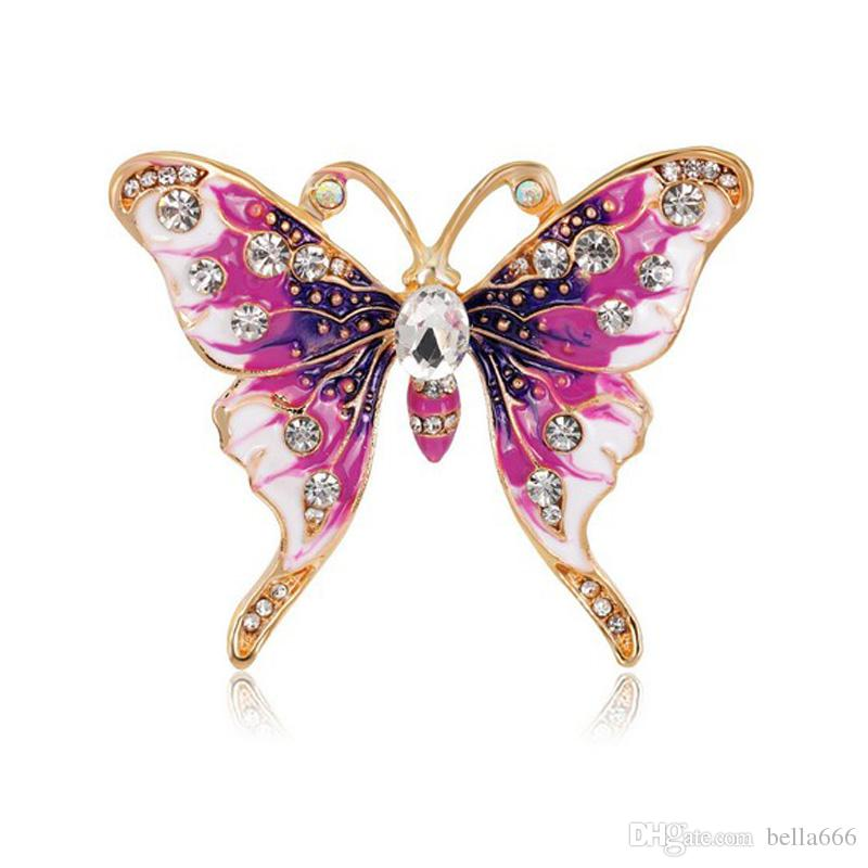 Europe America Retro Female Accessories Rhinestone Enamel Painted Colorful Butterfly Brooches Pin Girl Ornaments Corsage Party Gift