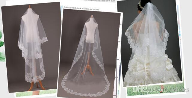 Luxury New Women Wedding Bridal Veils Lace Floral Edge Ivory White Tulle Veils Wedding Bride Accdessories