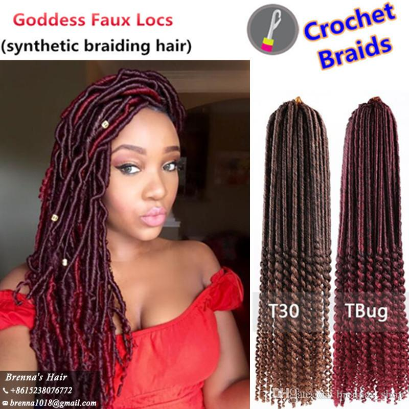 Synthetic Bohemian Style Faux Locs Curly End Hair Goddess 20