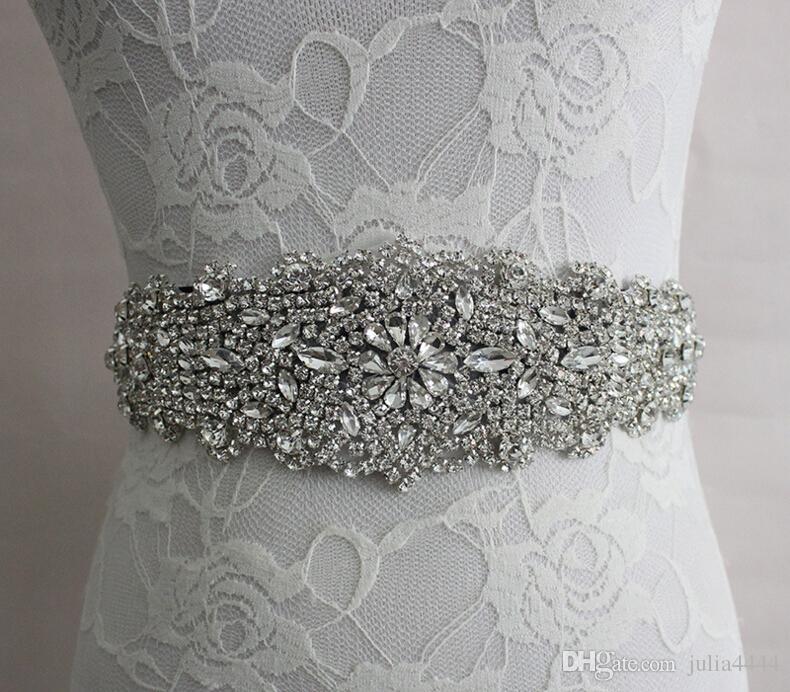 2019 Real Image Свадебные платья Sash Bridal Ремни Rhinestone Кристаллическая Лента Свяжитесь назад Свадебные Аксессуары Принцесса Ручная Мода