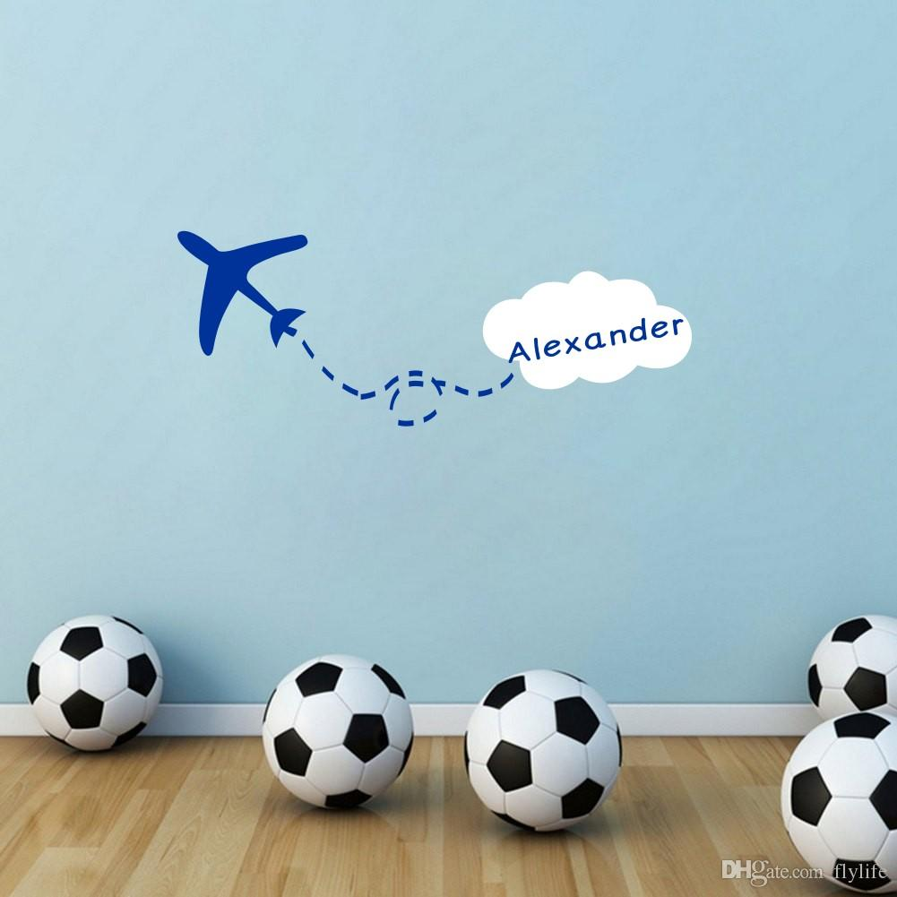 personalized custom any kids name wall sticker creative airplane personalized custom any kids name wall sticker creative airplane cloud vinyl wall art decor wall decal cheap wall decal deals from flylife 6 04 dhgate