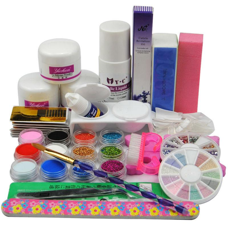 Wholesale Acrylic Nail Kit 3 Acrylic Powder 75ml Liquid Glitter ...