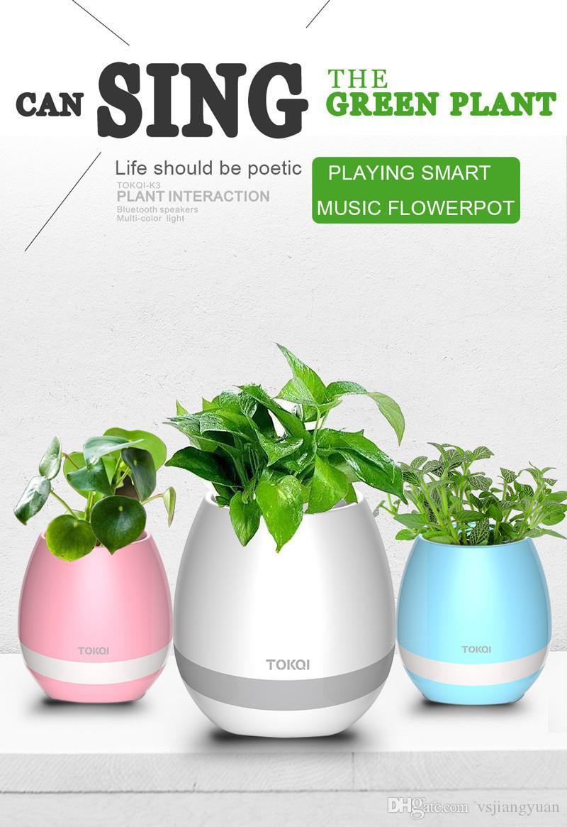 2017 New Arrival TOKQI K3 Smart Music Touch Play Flowerpot Flower Pot Real  Plant Interaction Wireless Bluetooth Speaker Multi-color Light