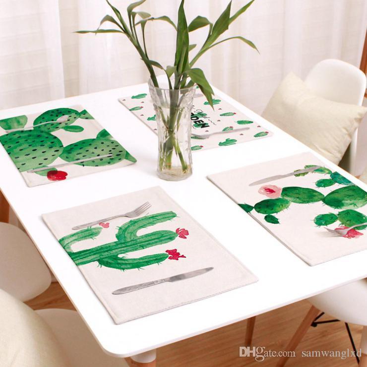 Compre Tropical Green Plants Cactus Patrón Dining Table Mat Estera ...