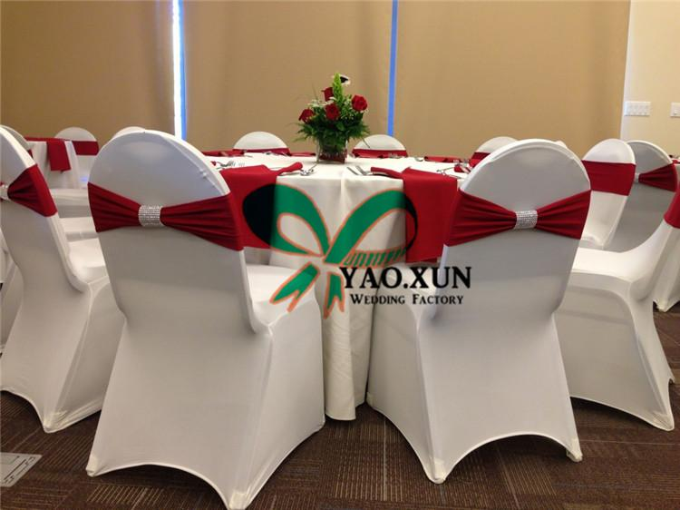 Red Color Lycra Spandex Chair Band \ Chair Sash With Good Looking Buckle For Wedding Chair Cover