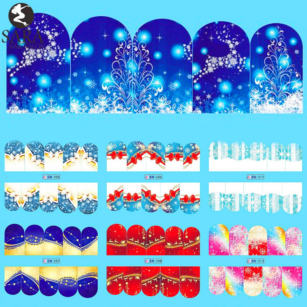 wholesale sara nail salon 1 sheet christmas blue design water stickers diy nail art transfer decals snowflake color patterns tip bn205 216 fake nails nail - How Much To Tip Hairdresser At Christmas