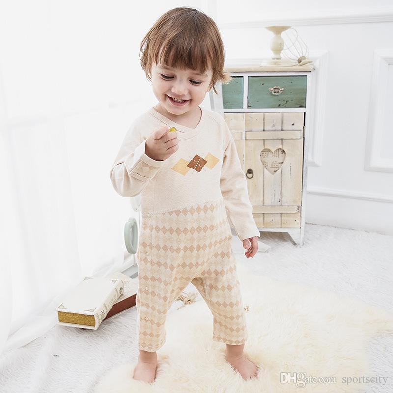2017 new spring and autumn long sleeve climbing baby jeans oblique button button pattern baby infantry rompers
